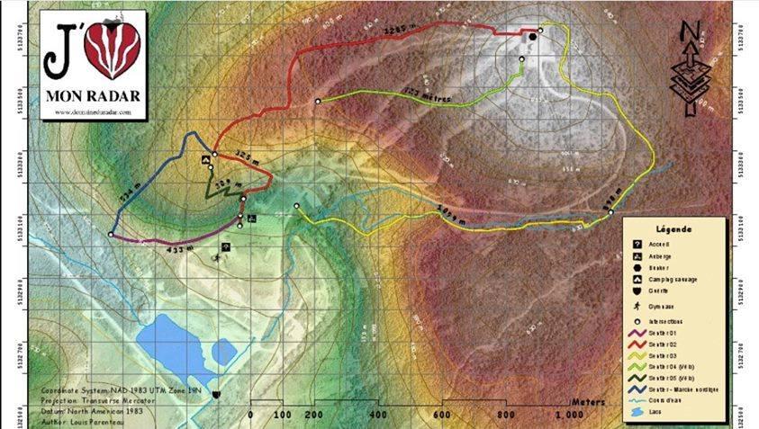 Domaine du Radar Carte des Sentiers pédestres